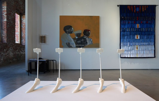 A sculpture by Nidhal Chamekh at Primo Marella Gallery