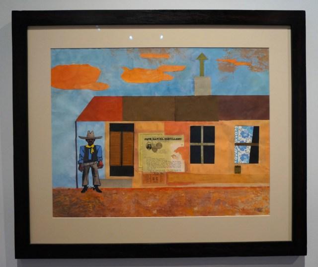 """Peter Clarke, """"Black Cowboy"""" (1982), gouache collage on paper, 50.5 x 65 cm"""