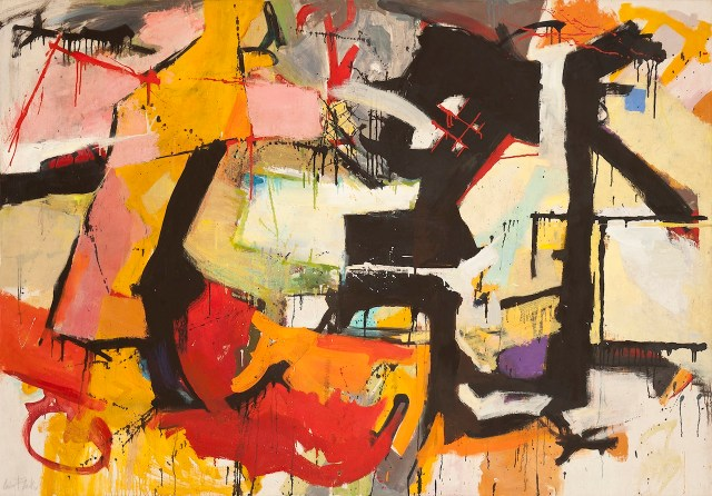 "Audrey Flack, ""Abstract Force: Homage to Franz Kline"" (1951–52), oil on canvas, 50 x 72 inches (click to enlarge)"