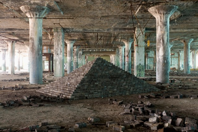 """Scott Hocking's """"Ziggurat"""" was assembled from 6,201 found blocks inside the Fisher Body Plant, over the course of 8 months."""