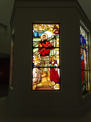 """Kehinde Wiley, """"Saint Ursula and the Virgin Martyrs"""" (2014), stained glass (photo by Jillian Steinhauer/Hyperallergic) (click to enlarge)"""