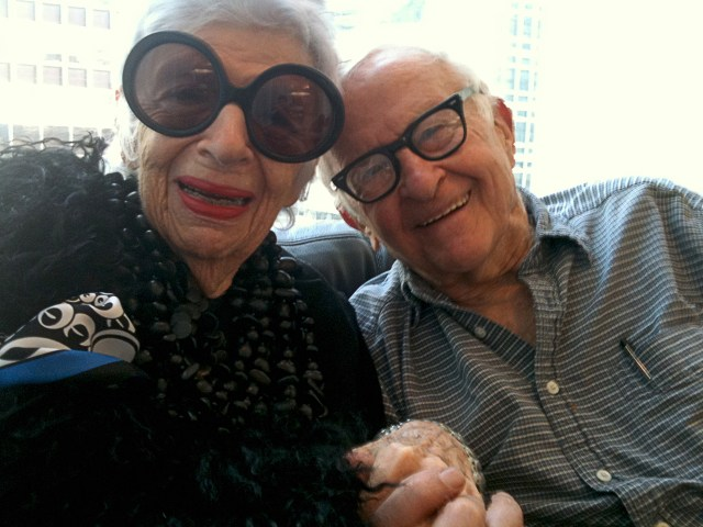 Iris Apfel and director Albert Maysles in 'Iris,' a Magnolia Pictures release (image courtesy Magnolia Pictures)