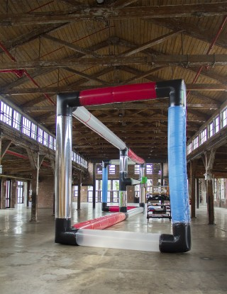 A view of Murphy's monumental kinetic inflatable that is part of the two-person exhibition with Trevor Tweeten at the Knockdown Center (photo courtesy Michael Merck)