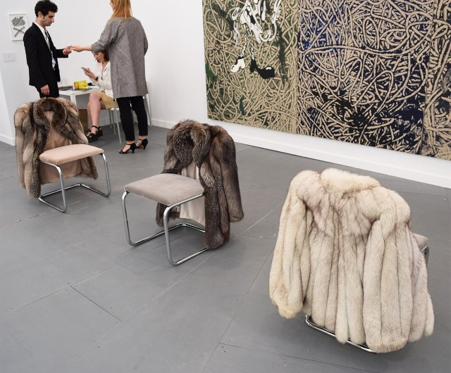 Untitled chair sculptures by Nicole Wermers (all 2015) in the Herald St booth at Frieze New York