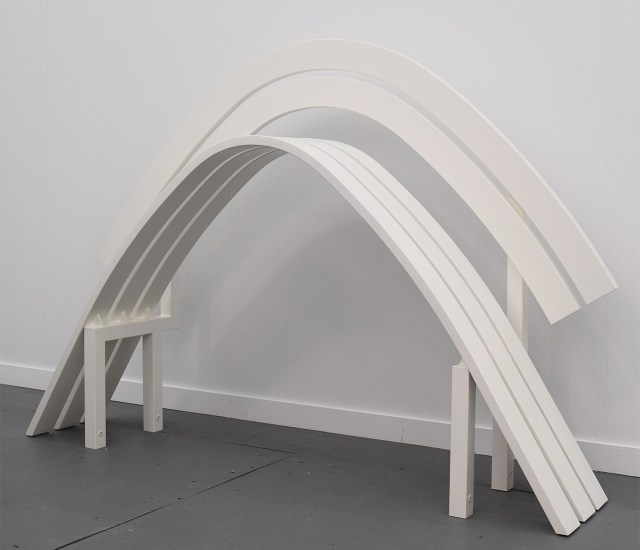 "Jeppe Hein, ""Modified Social Bench #14"" (2011) in the Galleri Nicolai Wallner booth at Frieze New York"