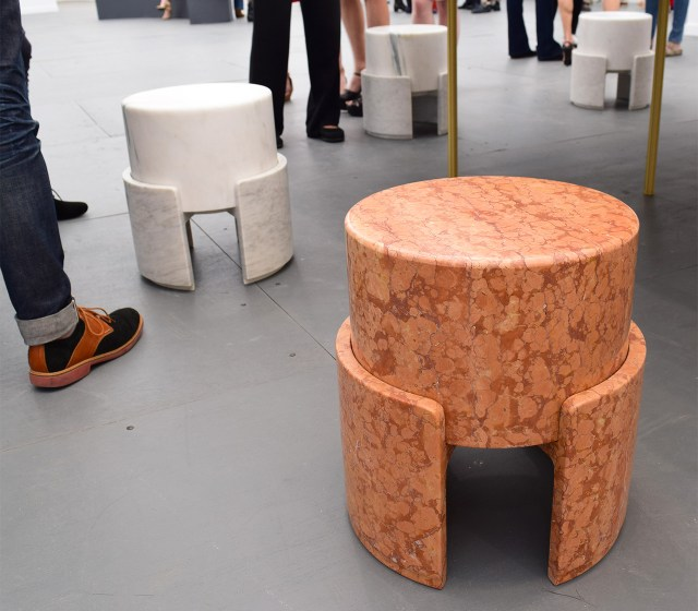 Stone and marble stools by Kueng Caputo in the Salon 94 booth at Frieze New York