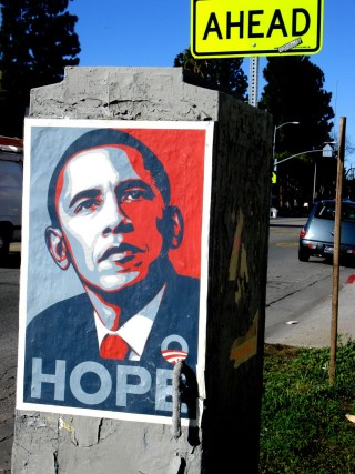 "A Shepard Fairey ""Hope"" poster (photo by Lord Jim, via Wikimedia Commons)"
