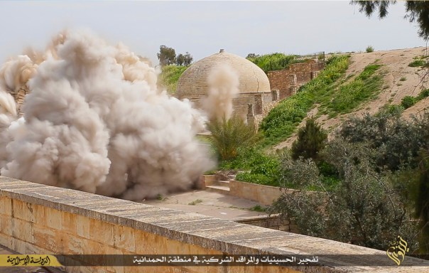 Still photo showing the destruction of the shrine released by ISIS, March 2015.