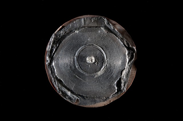 Volta Laboratory disc recording with Alexander Graham Bell's voice (December 29, 1881), reproduced in 1885 in tinfoil over plaster on cardboard backing (photo by Richard Strauss, Smithsonian)