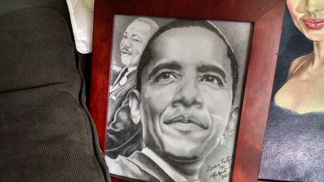 A drawing of President Barack Obama by prison escapee Richard Matt (Image via Twitter)