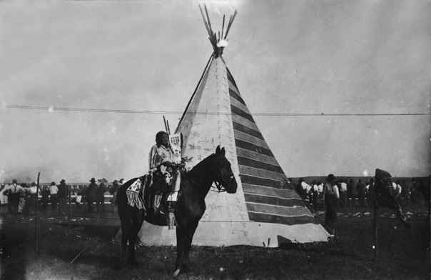 The Tipi with Battle Pictures in a scene from the 1920 silent film 'Daughter of Dawn' (Mary Buffalo Collection, Oklahoma Historical Society Research Division)