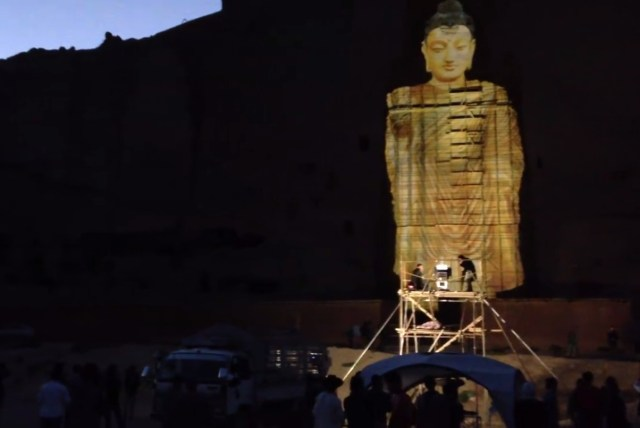 A 3D project of one of the destroyed Buddhas of Bamiyan (still via VOA TV Ashna)