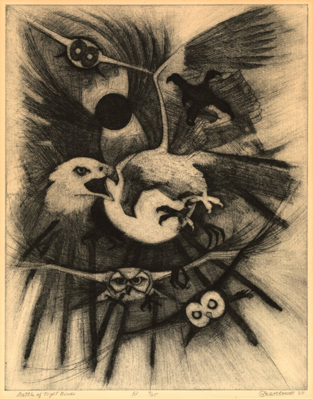 """Grey Cohoe (U.S., Navajo; 1944-1991), """"Battle of the Night Birds"""" (1967), etching,22 3/4 x 19 3/4 in. (courtesy Fred Jones Jr. Museum of Art, The University of Oklahoma, Norman; The James T. Bialac Native American Art Collection)"""