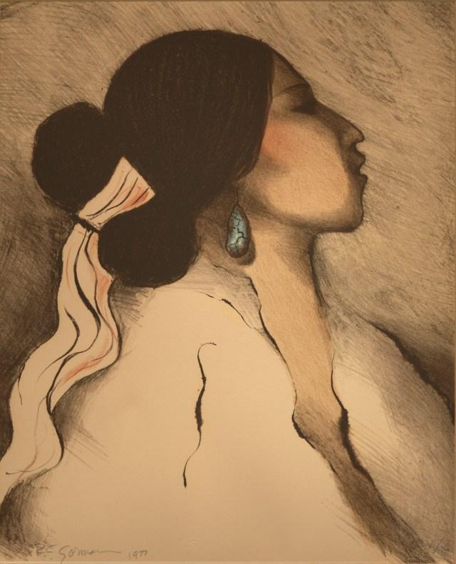 "Rudolf Carl ""R.C."" Gorman (U.S., Navajo; 1932-2005), ""Spider Woman"" (1977), lithograph,14 1/2 x 11 1/2 in. (Fred Jones Jr. Museum of Art, The University of Oklahoma, Norman; & the artist's estate)"