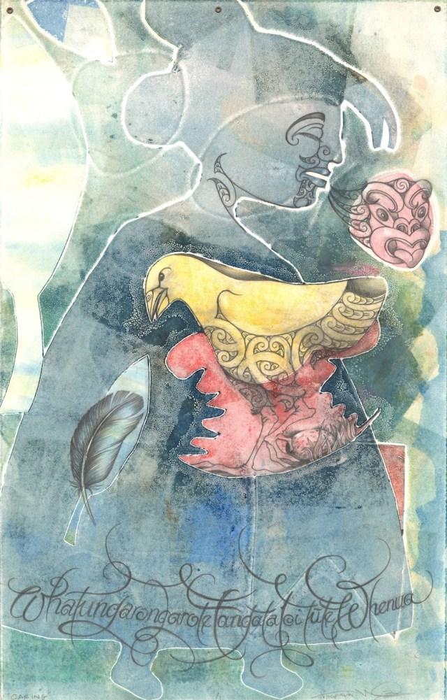"Melanie Yazzie (U.S., Navajo; b. 1966) & Nick Tupara (New Zealand, Maori; b. 1962), ""Caring"" (2011), mixed-media monotype, 22 1/2 x 13 1/4 in. (Loan courtesy of Melanie Yazzie, use courtesy of artists)"