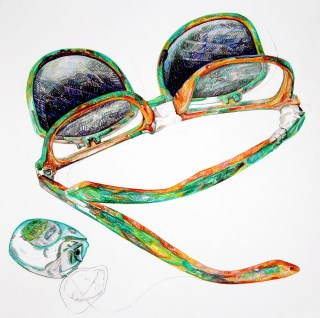 """Maya Suess, """"Survivalist Objects (Glasses)"""" (2014), colored pencil, graphite on paper20"""" x 20"""" (click to enlarge)"""