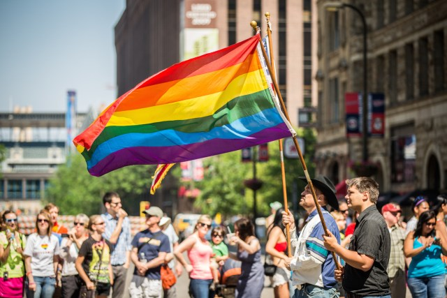 A Rainbow Flag at the 2013 Twin Cities Pride Parade in Minneapolis (photo by Tony Webster, via Wikimedia Commons)