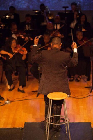 Gregory Hopkins - conducting a dress rehearsal of 'Voodoo' (photo courtesy Morningside Opera) (click to enlarge)