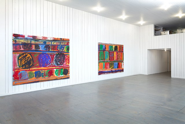 """An installation view of Stanely Whitney's """"My Whatever Means Necessary"""" (1992), oil on canvas, 81 1/2 x 103 inches"""
