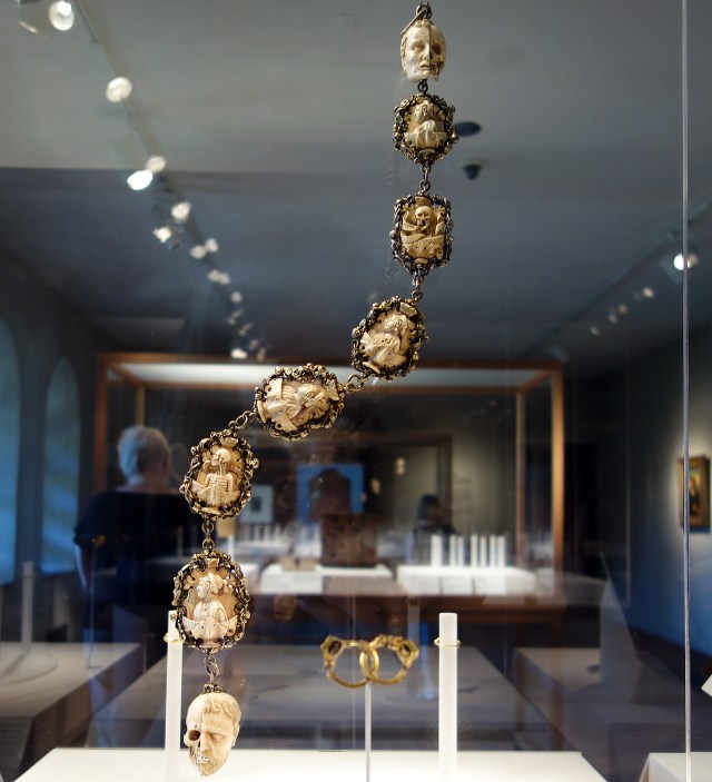 Memento mori rosary (German, 1500-1525), ivory, silver, and partially gilded mounts
