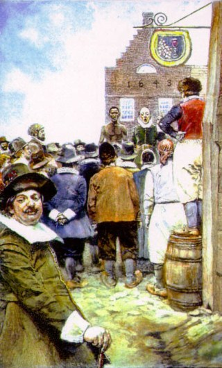 The New York City slave market in New Amsterdam in 1655 (illustration by Howard Pyle from 1917, via Wikimedia)