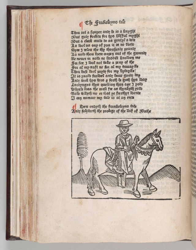 Geoffrey Chaucer (d. 1400), Canterbury Tales, Westminster: William Caxton, about 1483, Purchased with the Bennett collection, 1902, PML 693, fol. q6v, The Morgan Library & Museum.