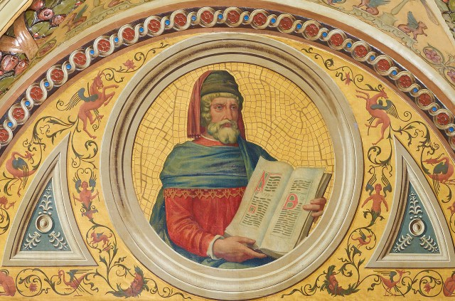 Portrait of William Caxton painted by H. Siddons Mowbray on a ceiling roundel in the Morgan Library (© The Morgan Library & Museum, photo by Graham S. Haber)