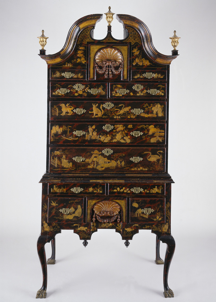 Japanned high chest by John Pimm (1730-1739), soft maple, black walnut, white pine, mahogany, brass (Winterthur Museum, Gift of Henry Francis du Pont, courtesy Museum of Fine Arts, Boston)
