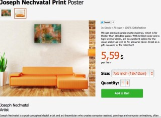 An image of a poster of a work by Joseph Nechvatal for sale on Wallpart.com (screenshot courtesy the artist)