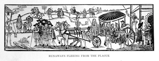 """""""Runaways Fleeing from the Plague"""" (1630), a woodcut from 'A Looking-glasse for City and Countrey' by H. Gosson (via Wellcome Images)"""