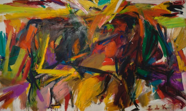 "Elaine de Kooning, ""Bullfight"" (1959), oil on canvas, 77 5/8 x 131 1/4 x 1 1/8 in, Denver Art Museum: Vance H. Kirkland Acquisition Fund (image courtesy Mark Borghi Fine Art, New York, NY, © Elaine de Kooning Trust)"