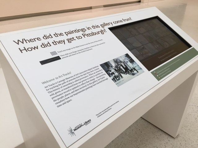 The Art Tracks database installed in the Carnegie Museum of Art (courtesy Carnegie Museum of Art)