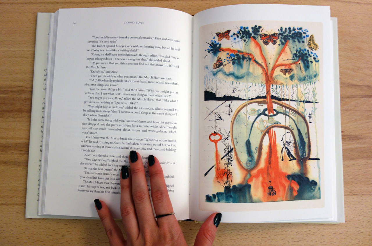 'Alice's Adventures in Wonderland' by Lewis Carroll, illustrated by Salvador Dalí (photo of the book for Hyperallergic)