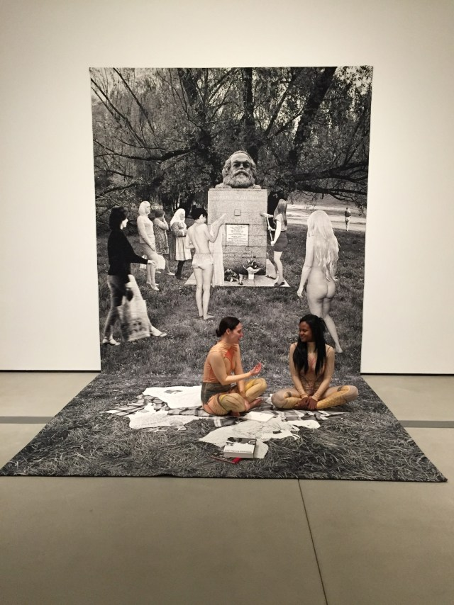 """Goshka Macuga, """"Death of Marxism, Women of All Lands Unite"""" (2013), wool tapestry, 220 x 113 5/8 in."""