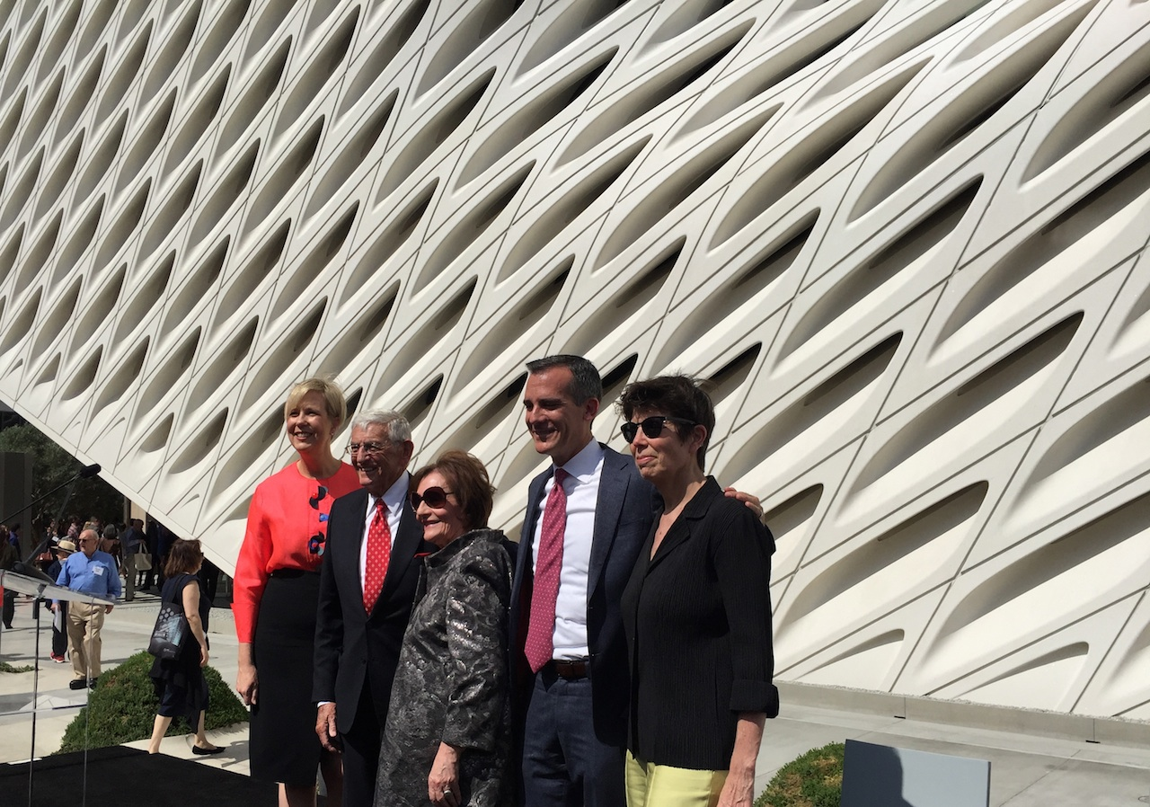 Broad Founding Director Joanne Heyler, Eli and Edythe Broad, LA Mayor Eric Garcetti, and architect Elizabeth Diller