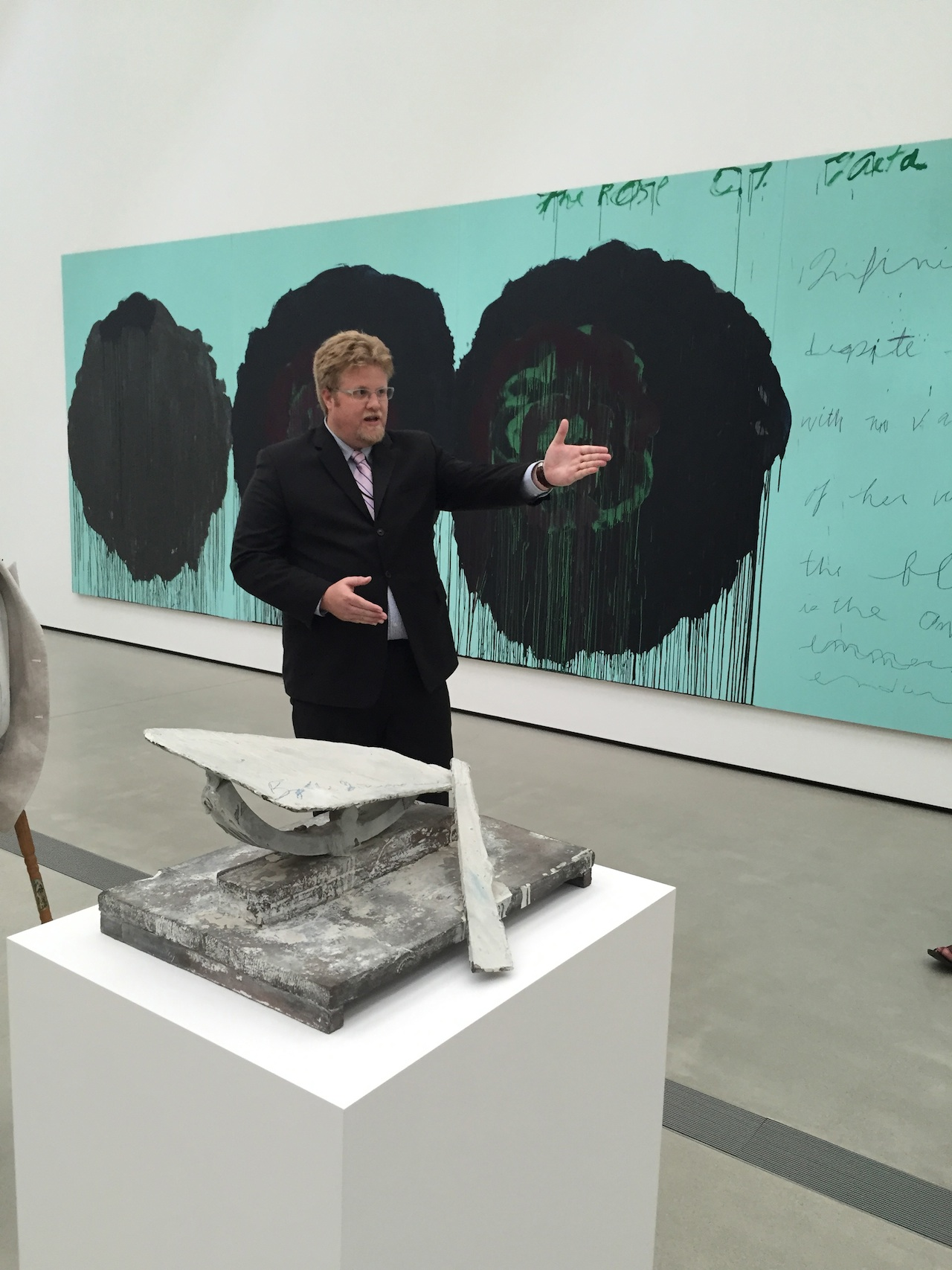 Assitant Curator Ed Schad discussing Cy Twombly's work.