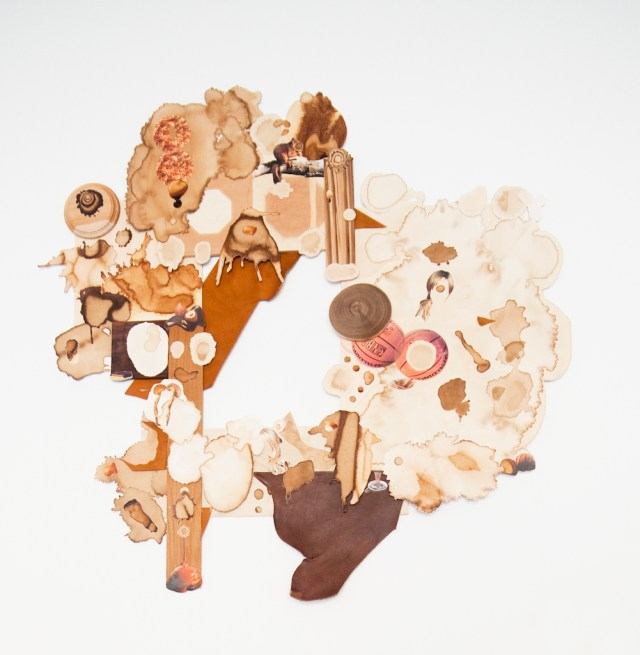"Teppei Kaneuji, ""Muddy Stream from a Mug"" (2009), wood, clippings of coffee stains and printed material, 27.56 x 27.56 inches (courtesy of the artist)"