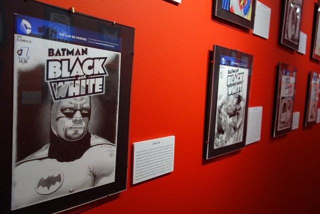 Installation view of 'Batman Black and White: The Sketch Covers'