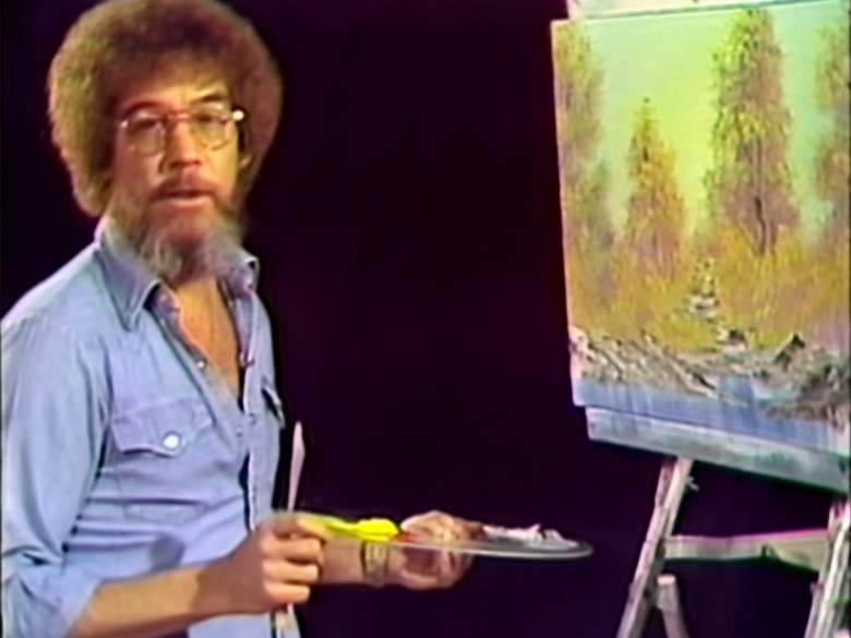 "Still from the first episode of 'The Joy of Painting' with Bob Ross (screenshot via <a href=""https://www.youtube.com/watch?v=oh5p5f5_-7A"" target=""_blank"" srcset="