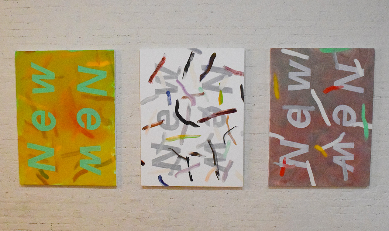 Three untitled paintings by Gregory Edwards in the lobby of MoMA PS1