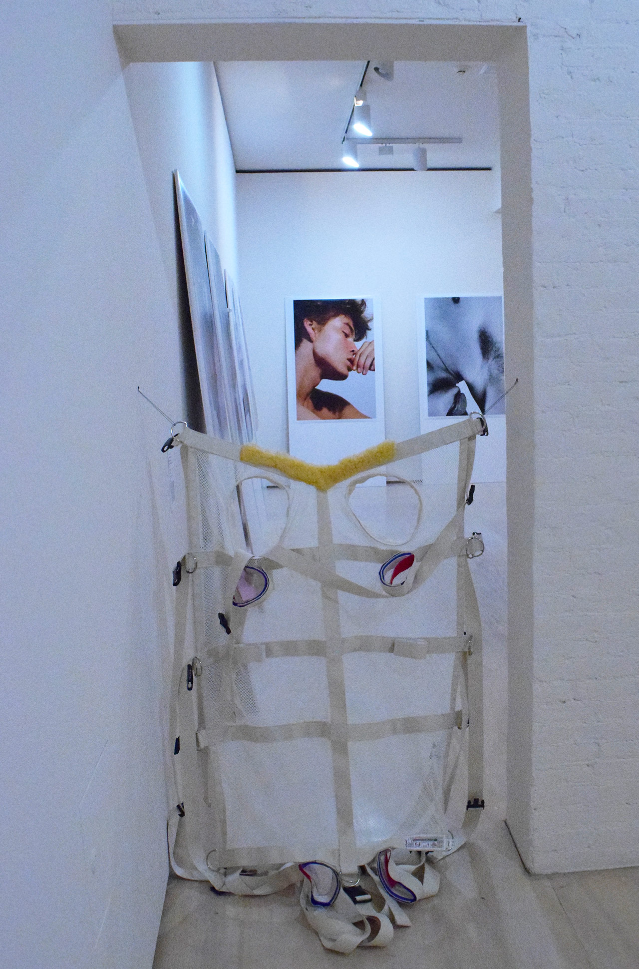 "Park McArthur, ""Posey Restraint"" (2014) blocks a doorway on MoMA PS1's second floor."