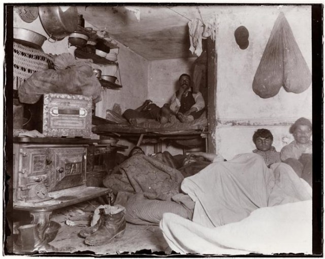 """""""Five Cents a Spot,"""" photo by Jacob A. Riis (1890) (courtesy Museum of the City of New York, Gift of Roger William Riis)"""