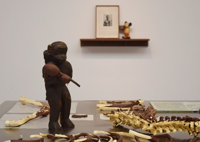 """Installation view of Minerva Cuervas's 'Feast and Famine' with """"Feast"""" (2015) in the foreground"""