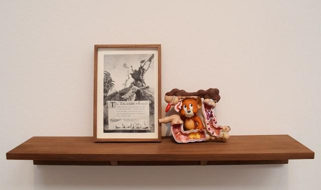 "Minerva Cuervas, ""Pleasure Island"" (2015), graphic and found objects"