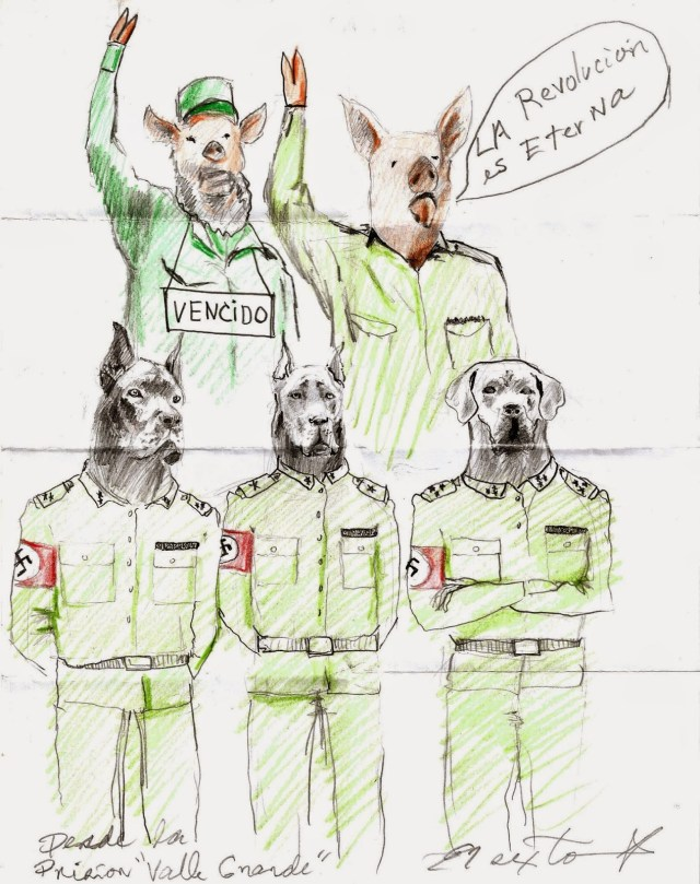 A drawing done by El Sexto in prison