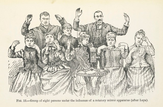 E.A. Hart, Group of eight people under the influence of a rotary mirror apparatus (after Luys), from 'Hypnotism and the New Witchcraft' (1893) (all images ©British Library)