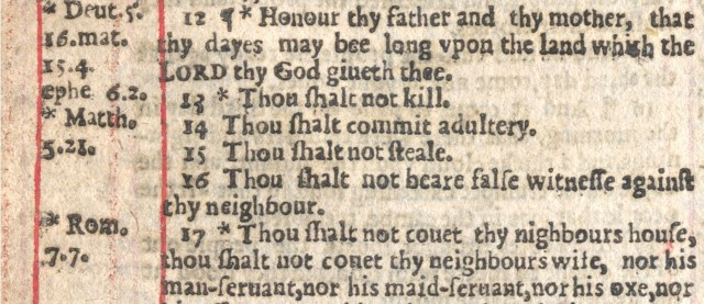 "Page from the 1631 ""Sinners' Bible"" stating ""Thou shalt commit adultery"" (courtesy Bonhams)"