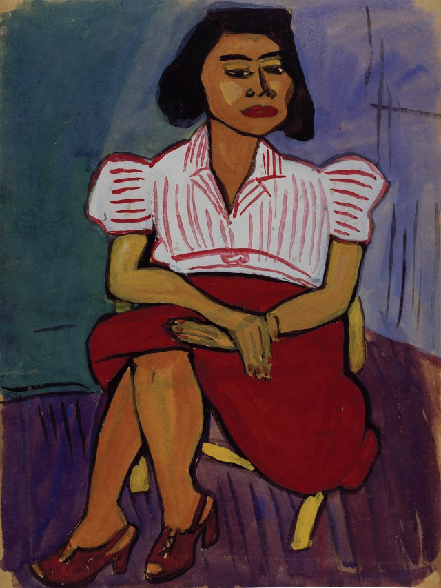 "William Henry Johnson, ""Untitled (Seated Woman)"" (1939), tempera and gouache on paper, 24 x 18 in, Collection of Camille O. and William H. Cosby Jr (photo by Becket Logan)"