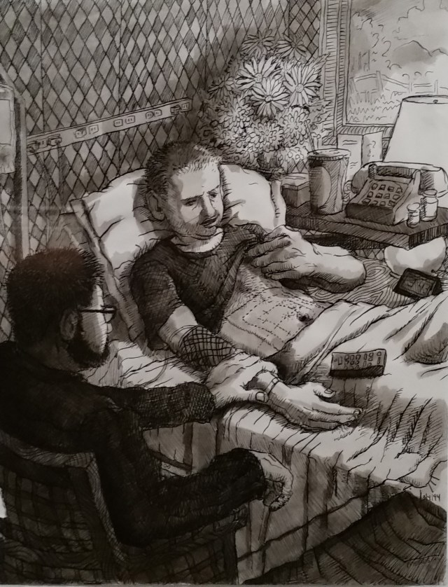 "Michael Meads, ""Visiting Colman in the hospital"", 1994 (image courtesy the artist)"
