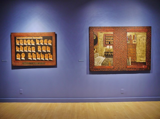 """Installation view, 'Martin Wong: Human Instamatic' at the Bronx Museum of the Arts, with """"My Secret World, 19781-1981"""" (1984) at right (click to enlarge)"""